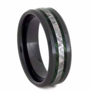 BLACK CERAMIC RING WITH GREEN WOOD AND METEORITE BURL-2150 - Cairo Men's Wedding Rings
