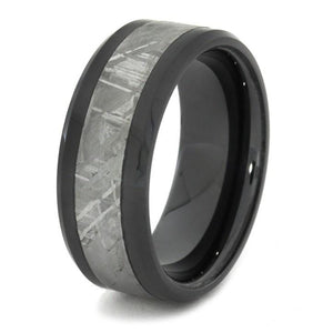 BLACK CERAMIC BEVELED RING WITH METEORITE-1666 - Cairo Men's Wedding Rings