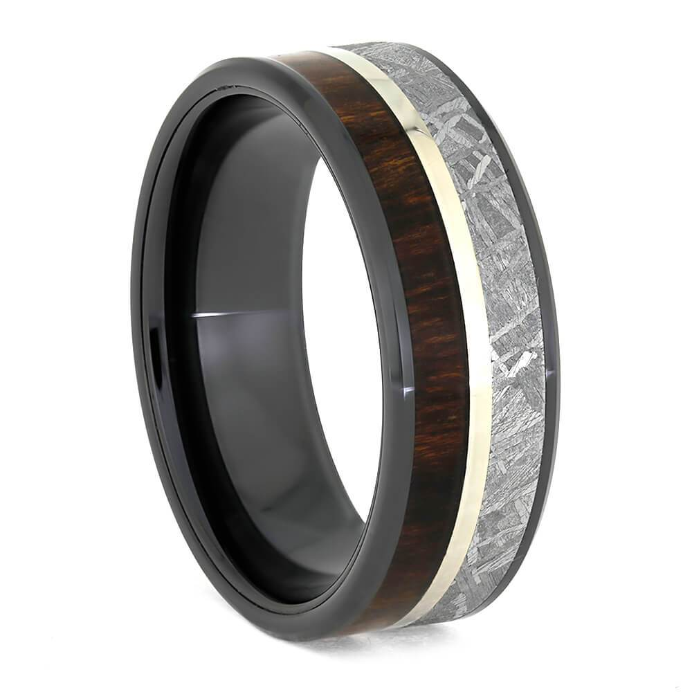 14k WHITE GOLD BLACK CERAMIC BEVELED RING WITH METEORITE AND ROSEWOOD-3888 - Cairo Men's Wedding Rings