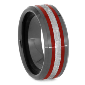 BLACK CERAMIC BEVELED RING WITH RED ENAMEL AND METEORITE-3287 - Cairo Men's Wedding Rings