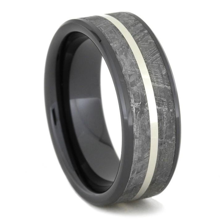 BLACK CERAMIC RING WITH WHITE GOLD AND METEORITE-1667 - Cairo Men's Wedding Rings