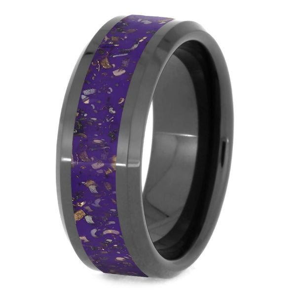 BLACK CERAMIC BEVELED WEDDING BAND WITH PURPLE STARDUST-4012 - Cairo Men's Wedding Rings