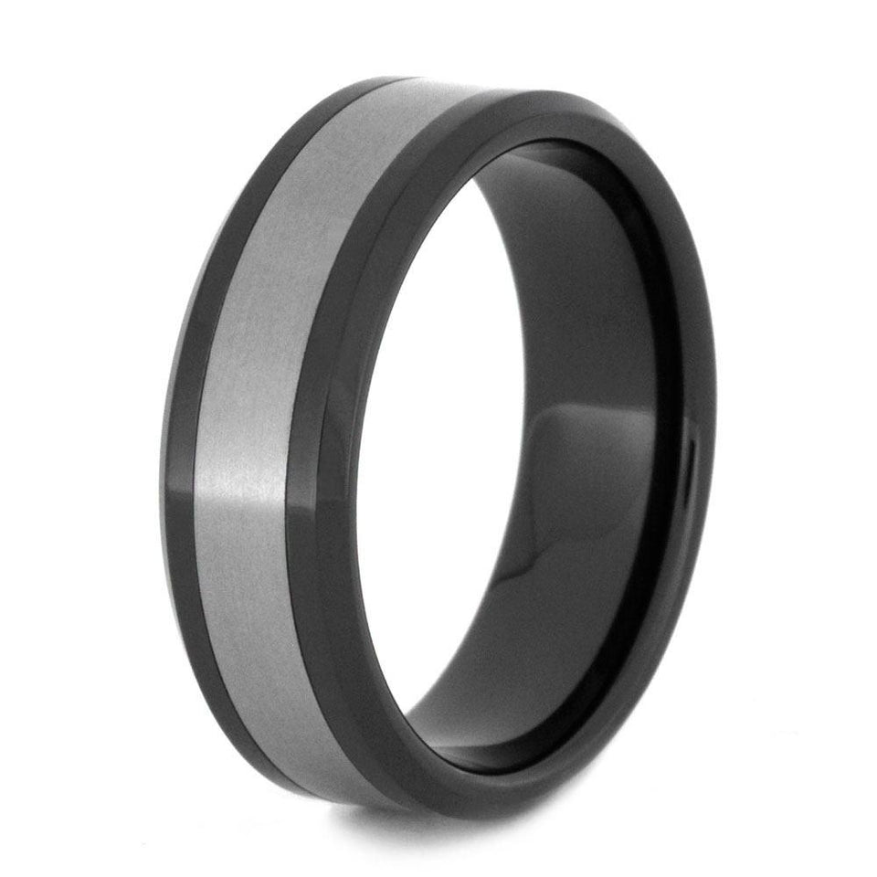 BLACK CERAMIC WEDDING BAND WITH TITANIUM-2972 - Cairo Men's Wedding Rings