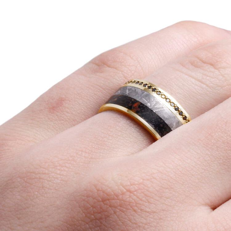 BLACK DIAMOND ETERNITY WEDDING BAND-DJ1021YG - Cairo Men's Wedding Rings