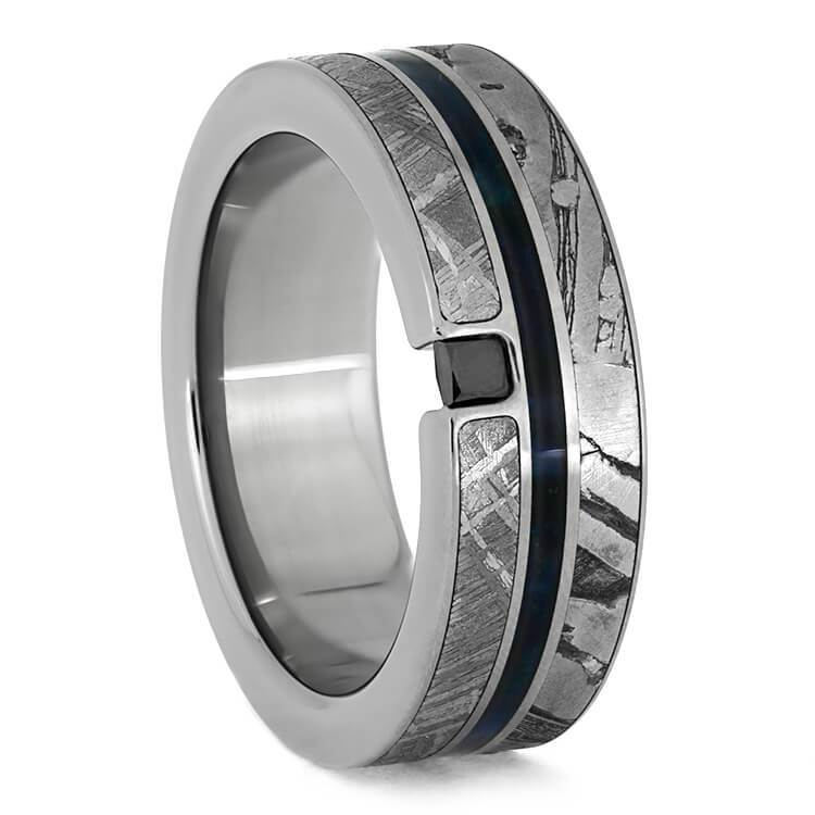 BLACK DIAMOND METEORITE RING WITH TITANIUM AND BLUE WOOD-3846 - Cairo Men's Wedding Rings
