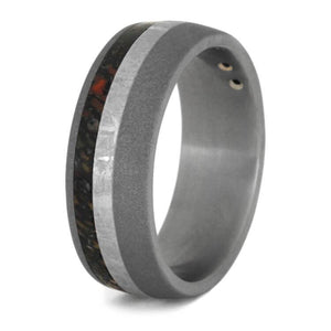 BLACK DIAMOND RING FOR MEN WITH METEORITE AND DINO BONE-2356 - Cairo Men's Wedding Rings