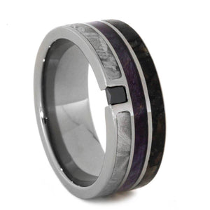 BLACK DIAMOND TITANIUM RING WITH PURPLE BOX ELDER WOOD-1820 - Cairo Men's Wedding Rings
