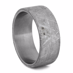 BLACK DIAMOND WEDDING BAND WITH 14k WHITE GOLD AND METEORITE-2097 - Cairo Men's Wedding Rings