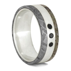 BLACK DIAMOND ANTLER WEDDING RING FOR MEN WITH METEORITE - Cairo Men's Wedding Rings