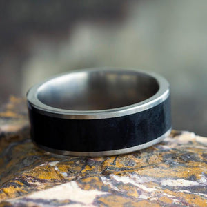 BLACK JADE TITANIUM WEDDING BAND-3646 - Cairo Men's Wedding Rings