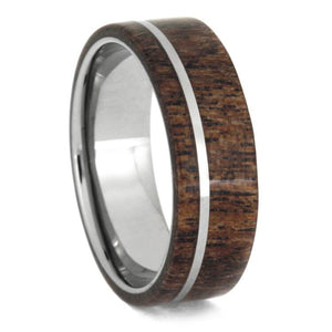 BLACK MESQUITE WOOD RING WITH TITANIUM-1036 - Cairo Men's Wedding Rings