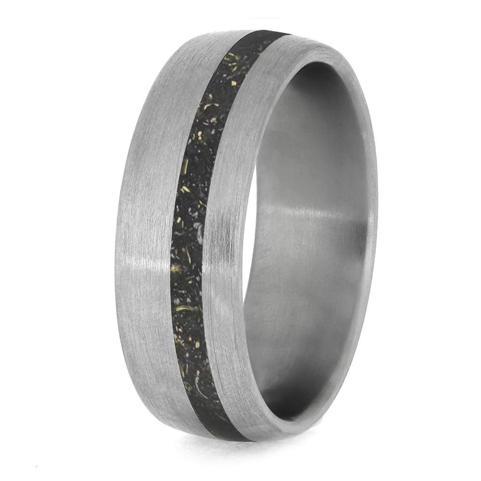 BLACK STARDUST TITANIUM RING WITH METEORITE AND GOLD-4234 - Cairo Men's Wedding Rings