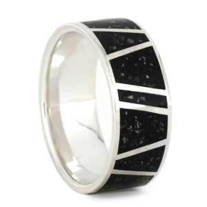 BLACK STARDUST WEDDING BAND WITH STERLING SILVER FOR MEN-3572 - Cairo Men's Wedding Rings