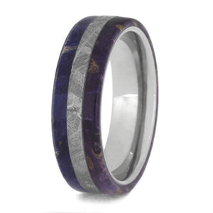 BLUE AND PURPLE ELDER BURL WOOD RING IN TITANIUM AND METEORITE-2492 - Cairo Men's Wedding Rings