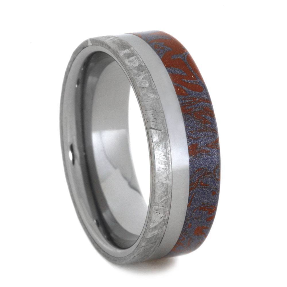 TUNGSTEN BLUE AND RED MOKUME WEDDING BAND WITH METEORITE-3407 - Cairo Men's Wedding Rings