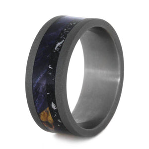 BLUE BOX ELDER BURL AND BLACK STARDUST BAND-3598 - Cairo Men's Wedding Rings
