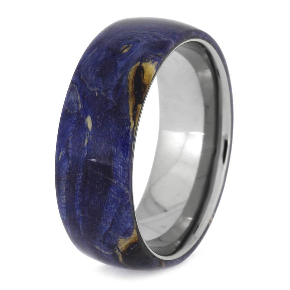 BLUE BOX ELDER BURL WOOD RING IN TITANIUM-2404 - Cairo Men's Wedding Rings