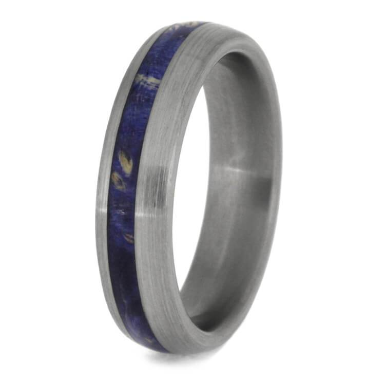 BLUE BOX ELDER BURL WOOD WEDDING BAND IN TITANIUM-2437 - Cairo Men's Wedding Rings