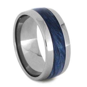 TITANIUM BLUE BURL WOOD RING-2511 - Cairo Men's Wedding Rings