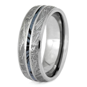 METEORITE MEN'S TITANIUM WEDDING BAND WITH MOKUME GANE-2725 - Cairo Men's Wedding Rings
