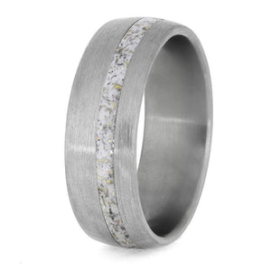 BLUE METEORITE  TITANIUM RING WITH ENAMEL AND GOLD-4235 - Cairo Men's Wedding Rings