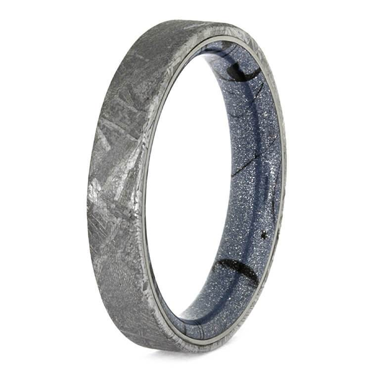 BLUE MOKUME POLISHED METEORITE RING-2617 - Cairo Men's Wedding Rings