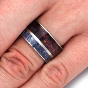 BLUE MOKUME WITH PURPLE BOX ELDER AND TITANIUM RING-2923 - Cairo Men's Wedding Rings