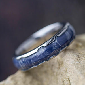 BLUE MOKUME TITANIUM RING WITH WAVY EDGES-2624 - Cairo Men's Wedding Rings