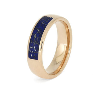 MEN'S ROSE GOLD WEDDING BAND WITH BLUE STARDUST-3982 - Cairo Men's Wedding Rings