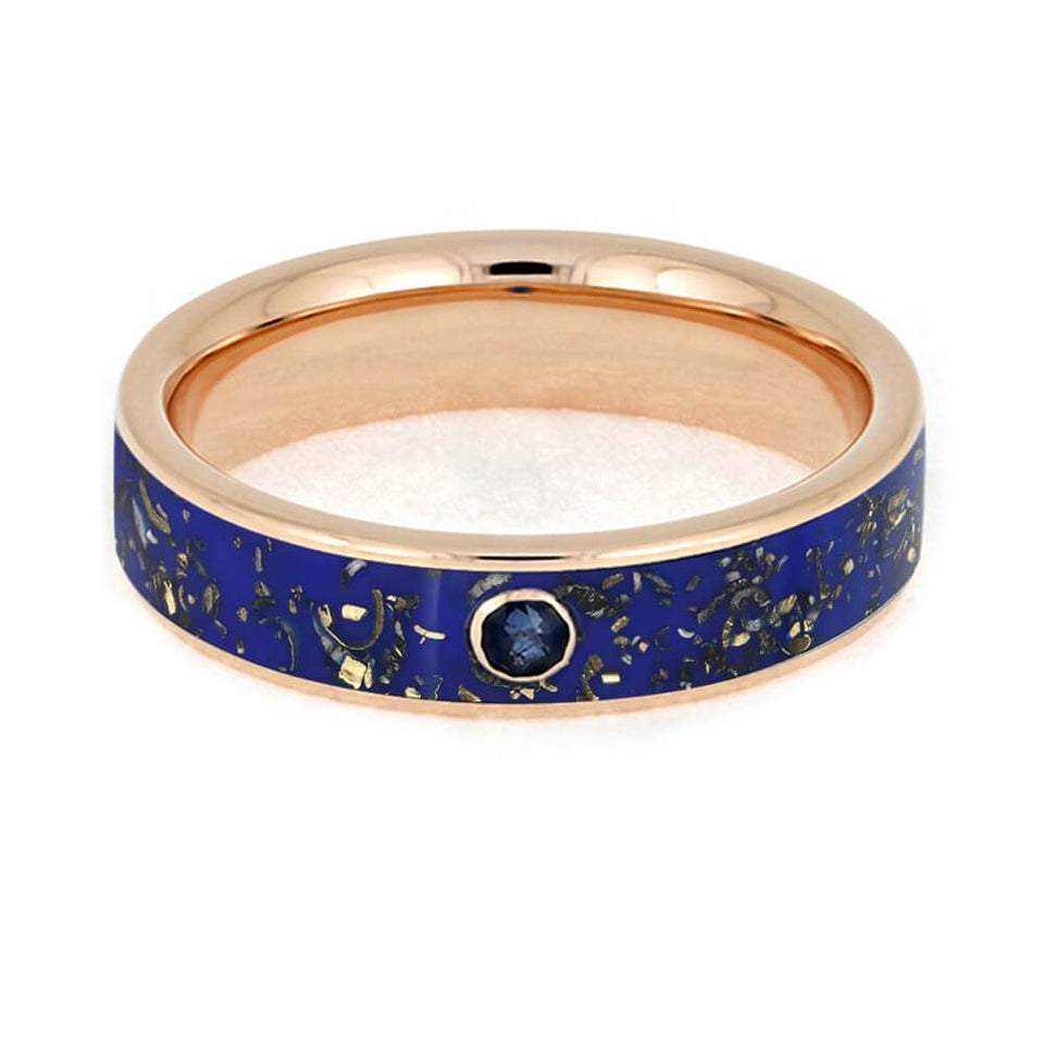 BLUE STARDUST SAPPHIRE RING WITH 14k ROSE GOLD-3642 - Cairo Men's Wedding Rings