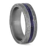 BLUE WOOD RING WITH METEORITE AND TITANIUM-4209 - Cairo Men's Wedding Rings