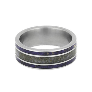 BLUE ELDER BURL WOOD WEDDING BAND IN TITANIUM BONE-2658 - Cairo Men's Wedding Rings
