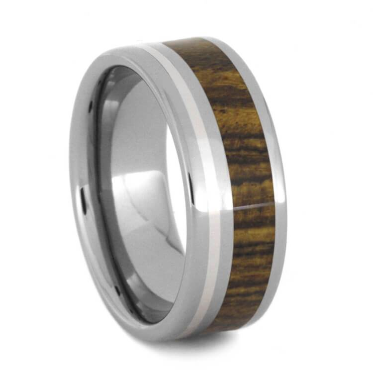 BOCOTE WOOD TITANIUM WEDDING BAND WITH STERLING SILVER-1201 - Cairo Men's Wedding Rings