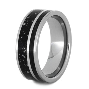 BOLD BLACK TUNGSTEN RING WITH STARDUST AND BOX ELDER BURL-3184 - Cairo Men's Wedding Rings