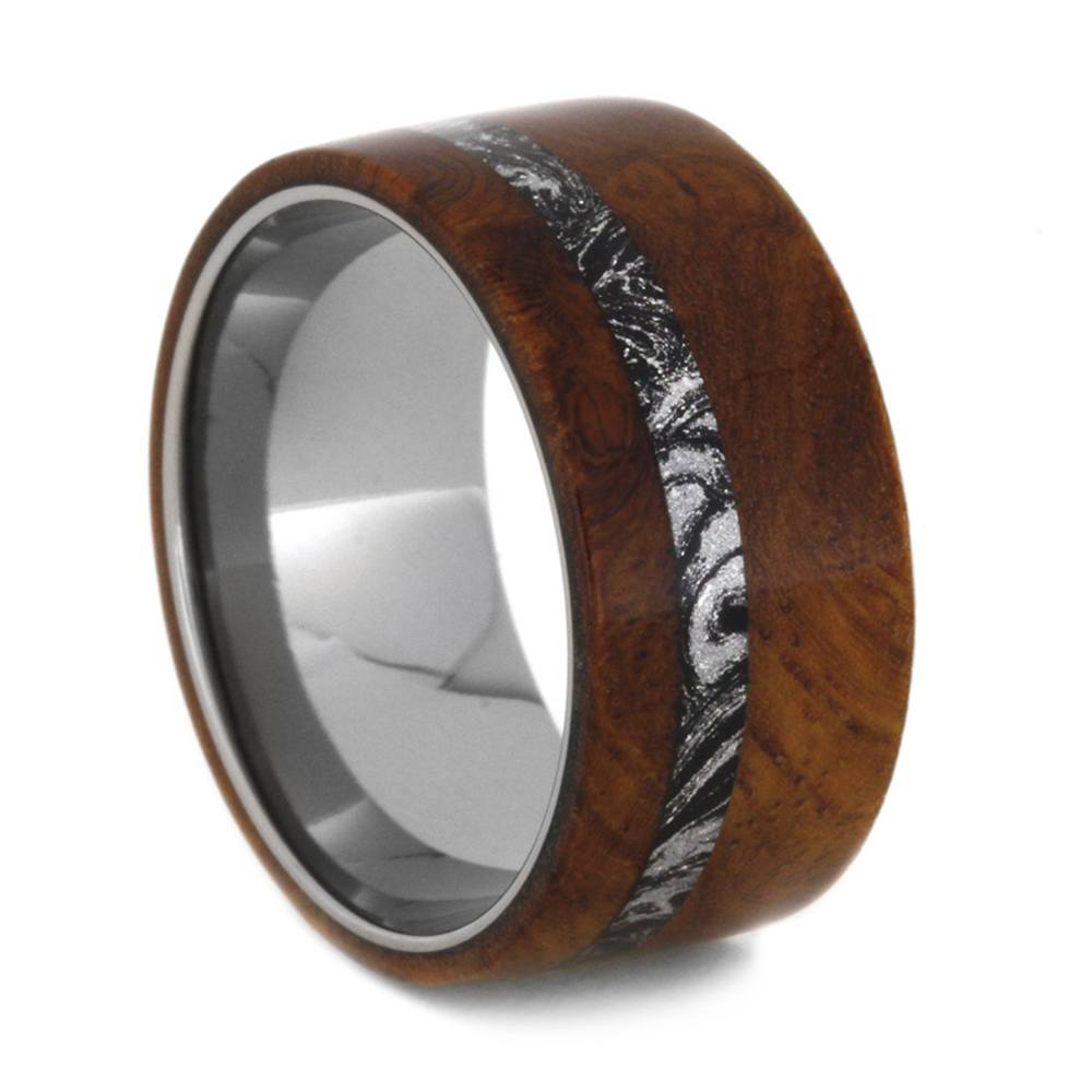 BURL WOOD RING WITH BLACK AND WHITE MOKUME-2014 - Cairo Men's Wedding Rings