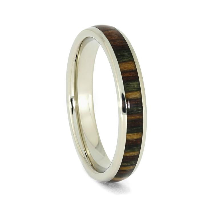 CAMO DYMONDWOOD AND 14k WHITE GOLD WEDDING BAND-3951 - Cairo Men's Wedding Rings