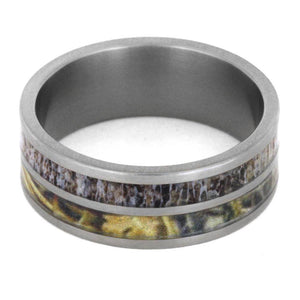 CAMO RING IN TITANIUM WITH DEER ANTLER-2918 - Cairo Men's Wedding Rings