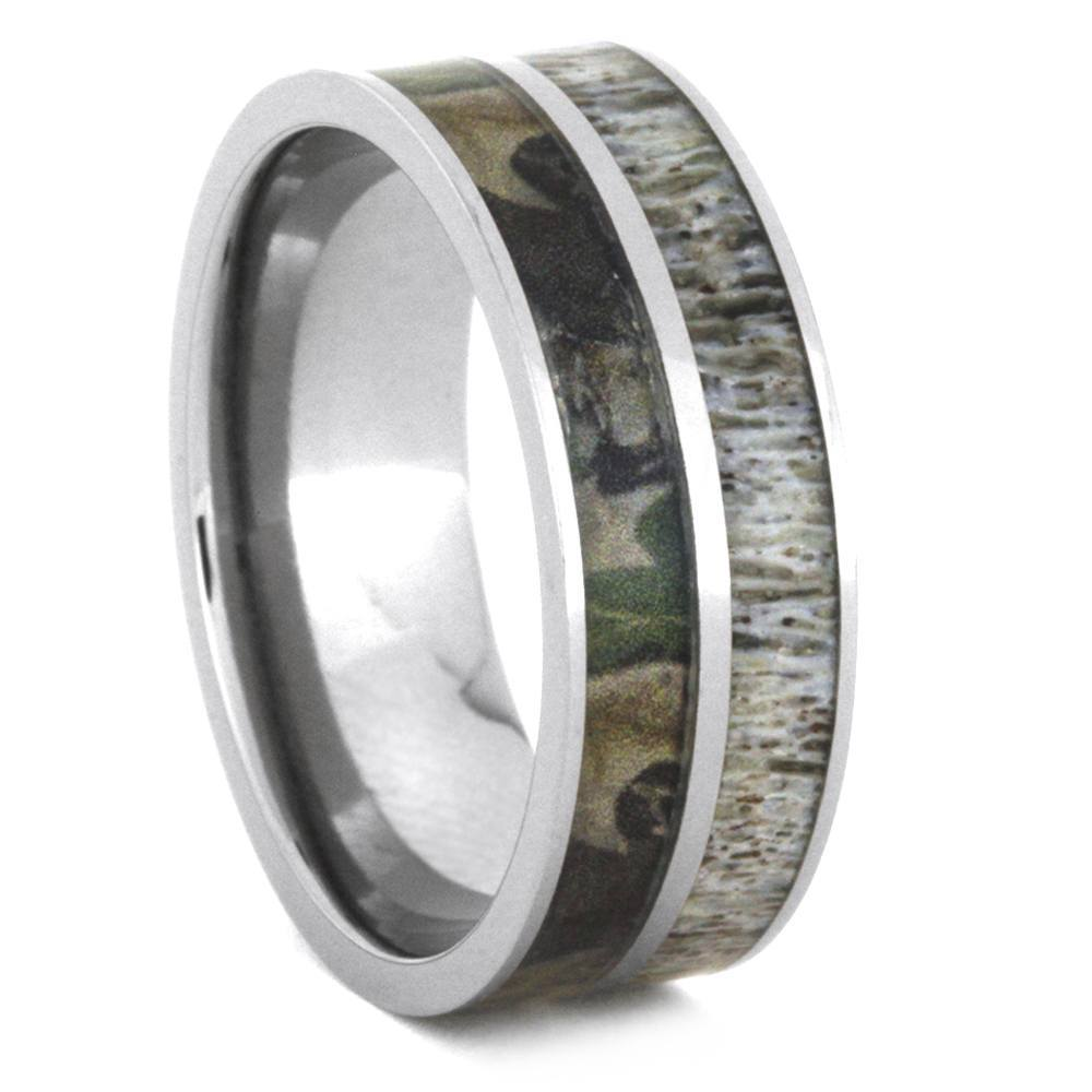 CAMO RING WITH DEER ANTLER IN TITANIUM-2917 - Cairo Men's Wedding Rings