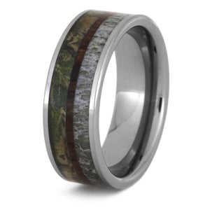 CAMO WEDDING BAND WITH TUNGSTEN DEER ANTLER AND KINGWOOD-3440 - Cairo Men's Wedding Rings