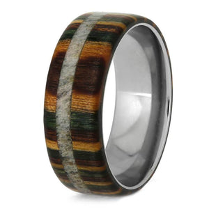CAMO WEDDING BAND WITH DYMONDWOOD AND ANTLER-2140 - Cairo Men's Wedding Rings
