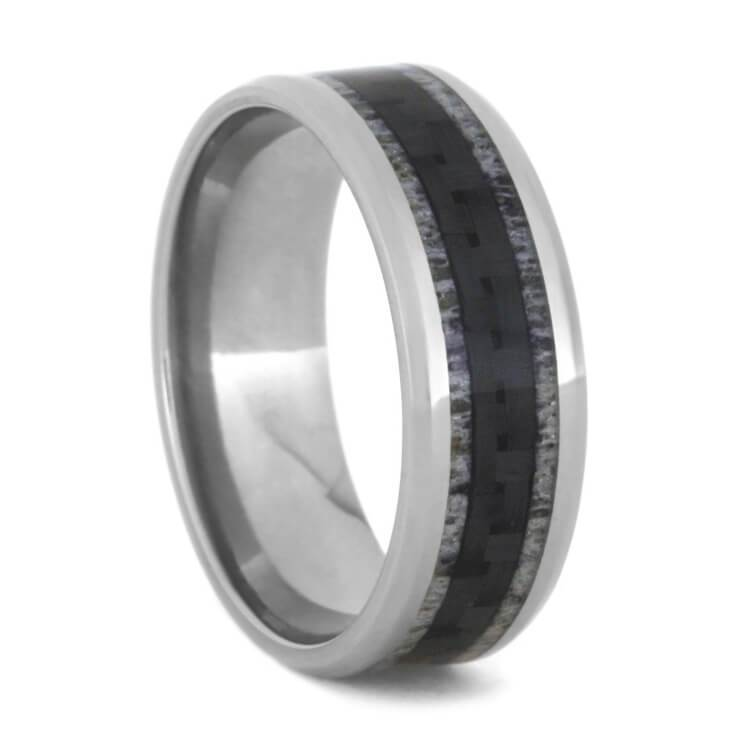 CARBON FIBER TITANIUM RING WITH DEER ANTLER-2925 - Cairo Men's Wedding Rings
