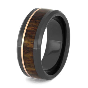 CARIBBEAN ROSEWOOD BEVELED WEDDING BAND WITH 14k ROSE GOLD-2694 - Cairo Men's Wedding Rings