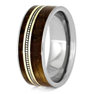 CELLO STRING 14k YELLOW GOLD RING WITH WHISKEY BARREL WOOD-3651 - Cairo Men's Wedding Rings