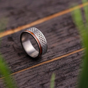 CELTIC ETERNITY BAND WITH TITANIUM IRONWOOD-1923 - Cairo Men's Wedding Rings