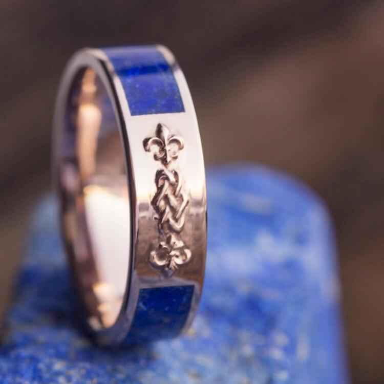 CELTIC KNOT WEDDING BAND WITH LAPIS AND 14k ROSE GOLD-2641 - Cairo Men's Wedding Rings
