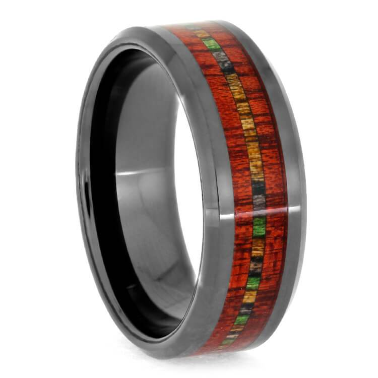 CERAMIC RING WITH BEVELED BLOODWOOD AND DYMONDWOOD-3281 - Cairo Men's Wedding Rings