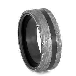 CERAMIC WEDDING BAND WITH METEORITE EDGES-3934 - Cairo Men's Wedding Rings