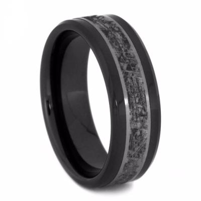 CERAMIC WEDDING BAND WITH TITANIUM MIMETIC METEORITE-2116 - Cairo Men's Wedding Rings