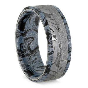 COBALTIUM MOKUME AND METEORITE RING-3777 - Cairo Men's Wedding Rings