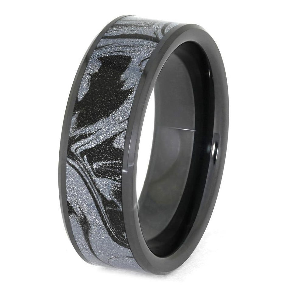 COBALTIUM MOKUME WEDDING BAND IN BLACK CERAMIC-4005 - Cairo Men's Wedding Rings